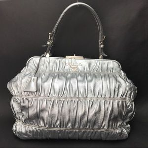 Authentic PRADA Silver Gauffe Dressy Metallic Bag